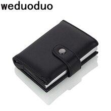 Weduoduo 2019 wysokiej jakości PU skórzane etui na karty kredytowe futerał na karty RFID RFID nowy projekt karta bankowa przypadki biznes kieszeń na kartę