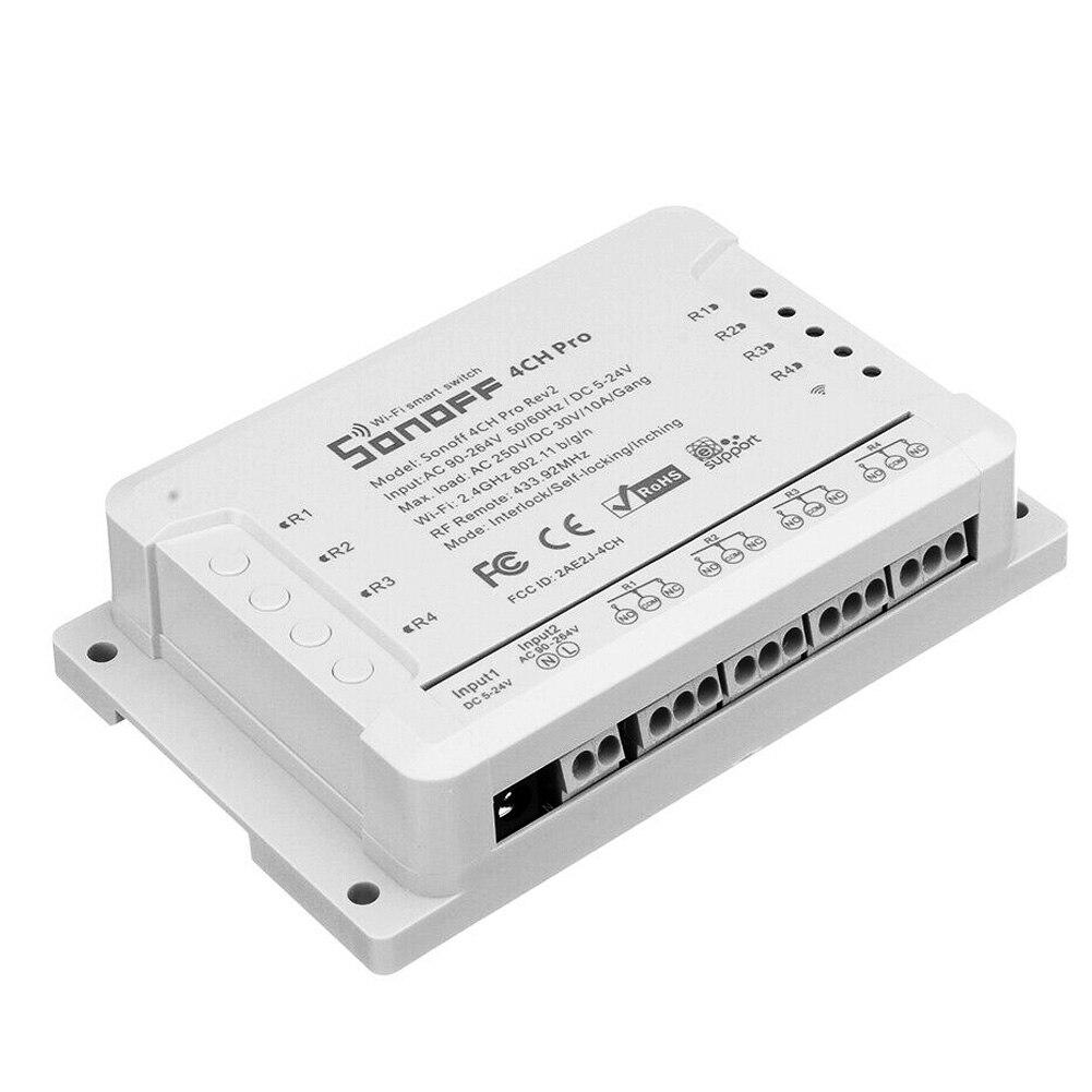 4CH Pro R2 Module de commutateur intelligent Portable APP télécommande 433MHz RF Wifi Inching 3 Modes de fonctionnement verrouillage maison 10A 2200W