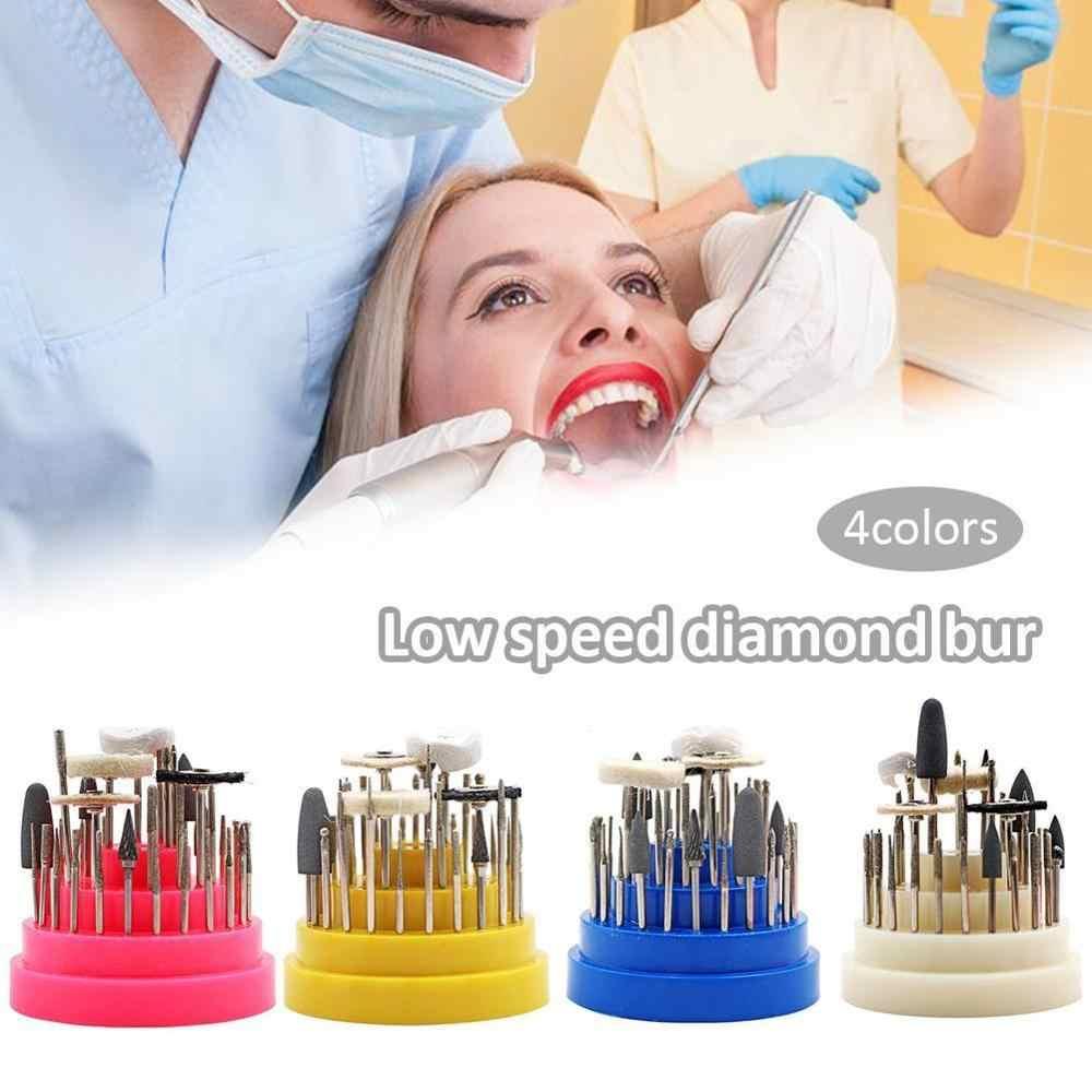 חדש 41Pcs מעבדת השיניים סיליקון גומי רוטרי טונגסטן פלדת ליטוש Burs 2.35mm שיניים הלבנת רופא שיניים ציוד עם תיבה