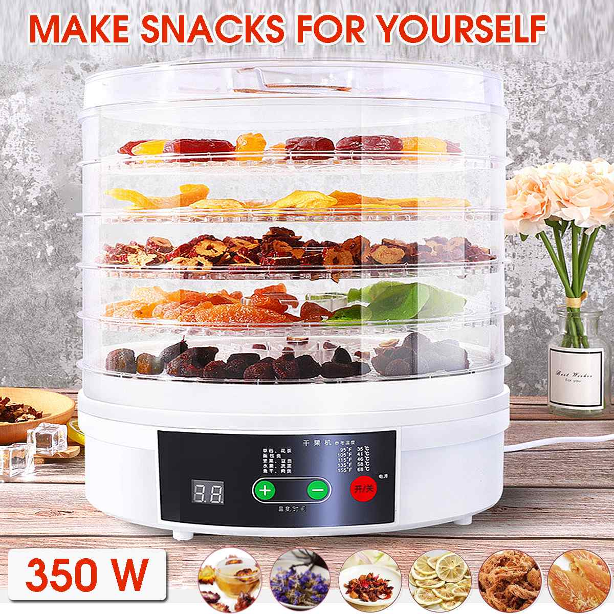 NEW Electric Food Dehydrator for Fruits and Vegetables 350W Temperature Adjustment 5 trays Snacks Air Dryer 110/220V