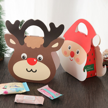 Lovely Deer Candy Packing Hand Bag Christmas Cookie Box DIY Santa Claus Craft Paper Package Box 50pcs/lot Gift Bag For Children