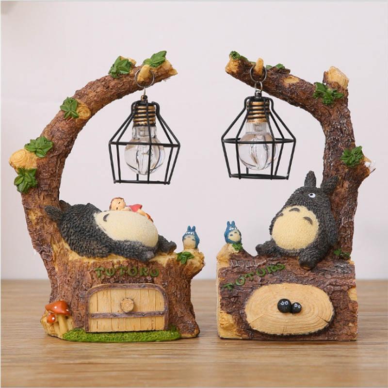 Totoro Electronic 3D Resin Animals Table Lamp Bedroom Bedside Night Light Table Night Lamp Hearts Children's Lighting Fixtures
