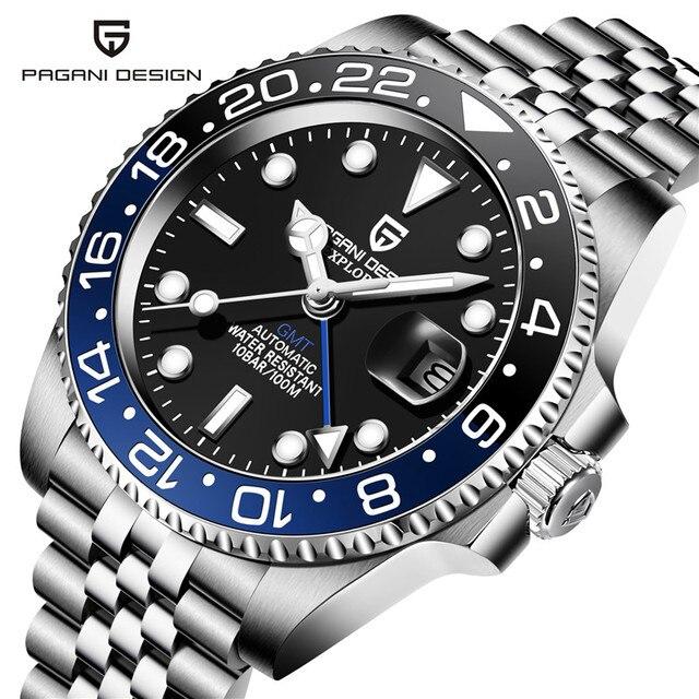 PAGANI DESIGN 40mm GMT Men's Mechanical Watches 100M Waterproof Top Brand Sapphire Glass Stainless Steel Business Men's Watch 2