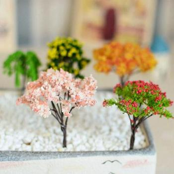 Vivid Miniature Animal Sakura Plum Willow Tree Plants Fairy Garden Accessories Dollhouse Ornament Trees Decoration Home office 1