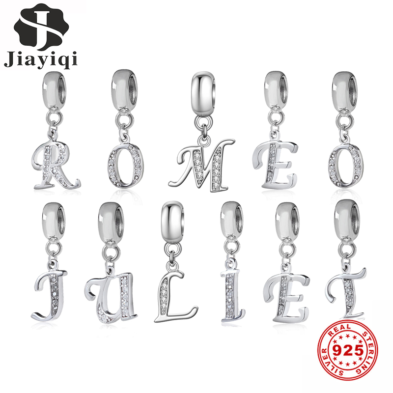 Jiayiqi A To Z Letter Charms 925 Sterling Silver CZ Beads Fit Women Pandora Original DIY Jewelry Gift Making