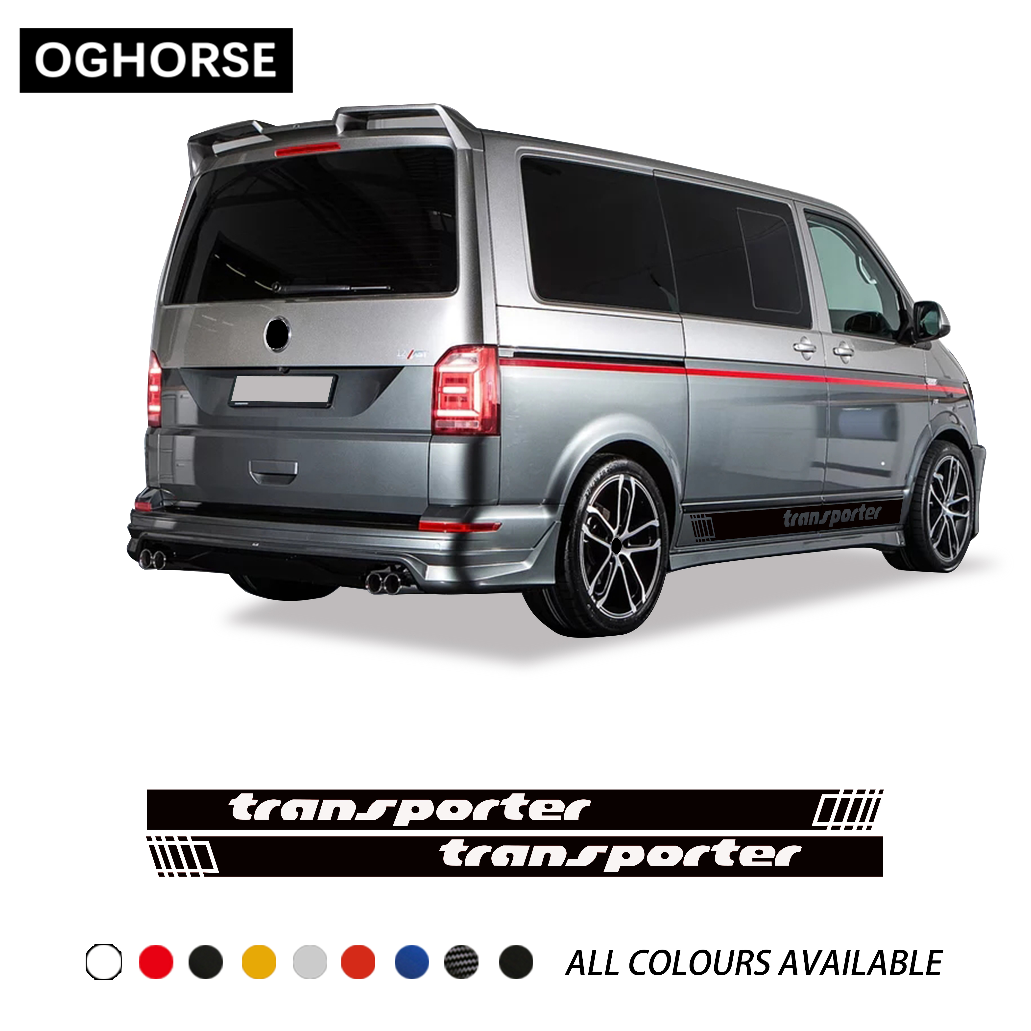 2X Door Side Stripes Skirt Sticker Racing Stripes Graphics Body Decal For Volkswagen TRANSPORTER T4 T5 T6 Accessories