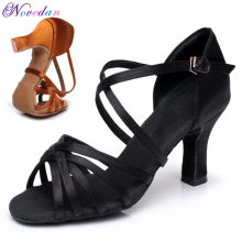 Latin-Dance-Shoe Ballroom-Dance-Sandals Satin-Salsa Tango High-Heel Women Girls for Soft