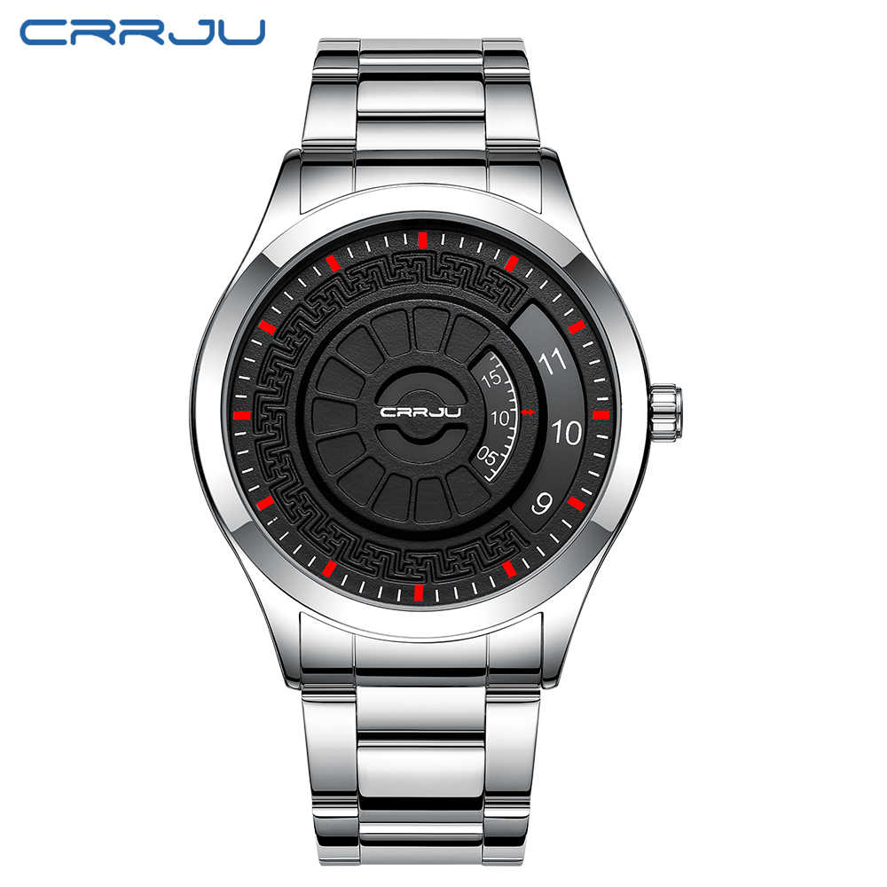 Reloj CRRJU de moda para hombres, reloj de estilo único de marca de lujo para hombres, reloj de cuarzo resistente al agua, relojes deportivos de gran esfera, reloj Retro