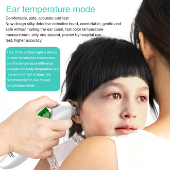 2 In 1 Infrared Thermometer With Backlight Portable Infant Forehead Ear Plastic Digital Display Auto Shutdown School Non