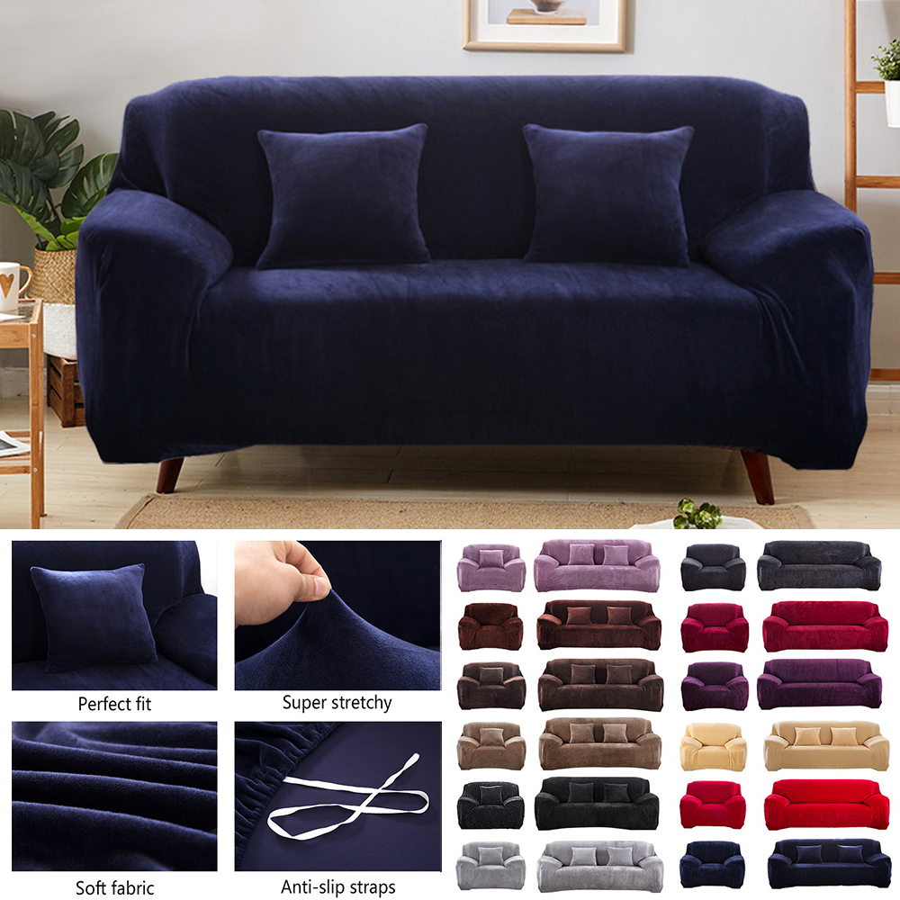 2018 Easy Fit Seater Thick Plush Velvet Couch Stretch Sofa Cover Slipcover Mat
