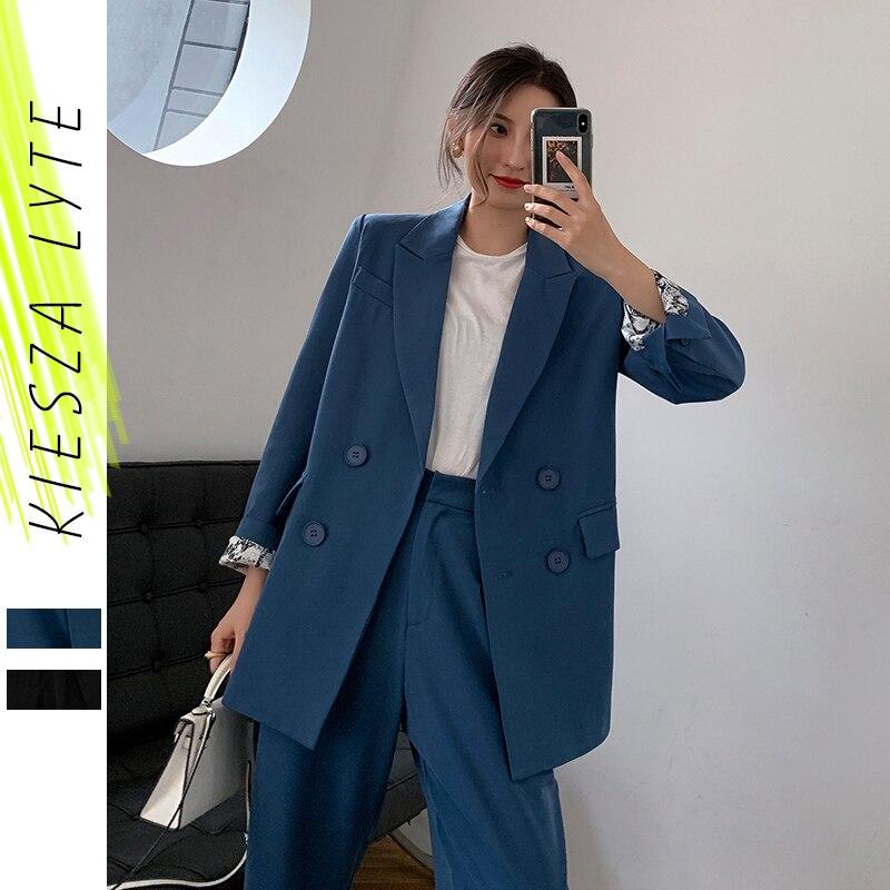 2019 Runway Women's Blazer Suit Fashion Office Ladies Uniform Pant Suits 2 Piece Sets Costume Femme High Street