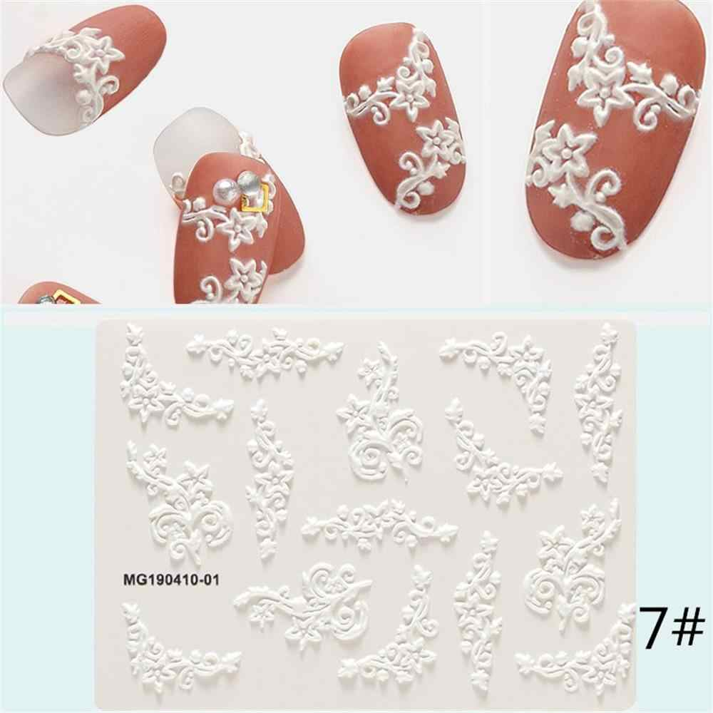 3D Snowflake 6D Acrylic Flower Leaf Pattern Engraved Nail Sticker Water Decals Empaistic Nail Water Slide Decals DIY Art Nails