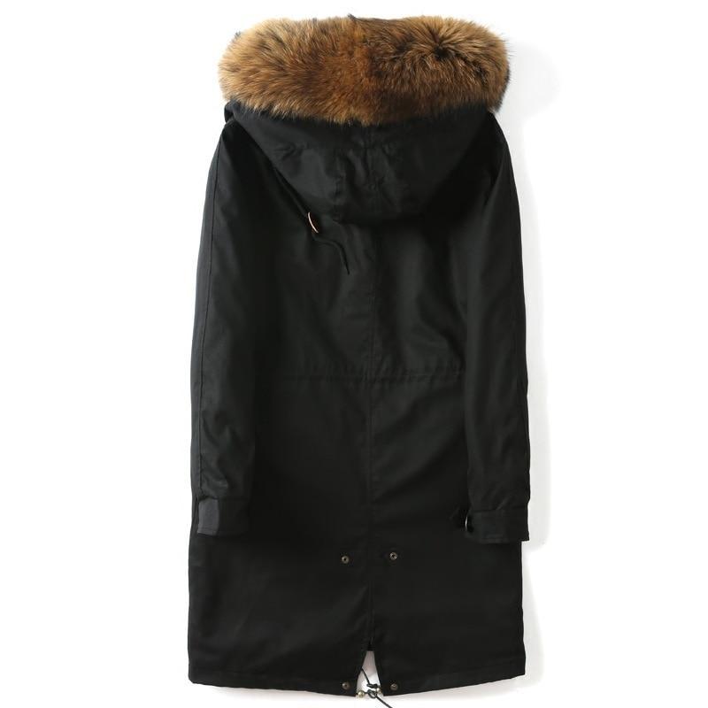 Mink Coat Long Parka Real Fur Coat Winter Coat Men Natural Mink Fur Liner Warm Parka Raccoon Fur Collar P17PK2221 YY1356