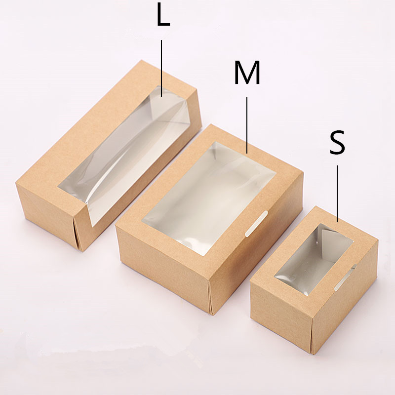 50pcs Kraft papier boîte à déjeuner jetable salade de fruits dessert boîte de nourriture de haute qualité frite poulet à emporter boîte d'emballage avec fenêtre - 2