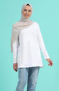 Minahill biała tunika moda muzułmańska islamska odzież skromne topy arabska odzież długa tunika Abaya Dubai 3403F-01 tanie i dobre opinie TR (pochodzenie) tops Aplikacje Bluzki i koszule Octan Dla dorosłych