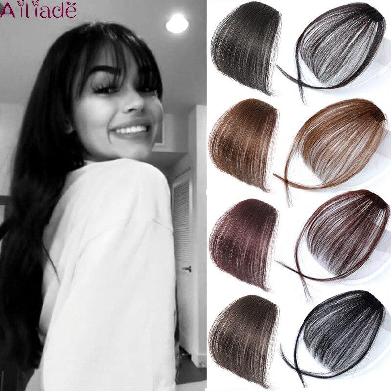AILIADE, искусственная челка с тупым воздухом, зажим для волос, наращивание волос, синтетическая искусственная челка, натуральный накладной ши...