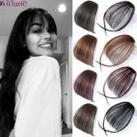 AILIADE-flequillo de aire Blunt falso para mujer, extensión de Clip de cabello sintético, flequillo falso Natural
