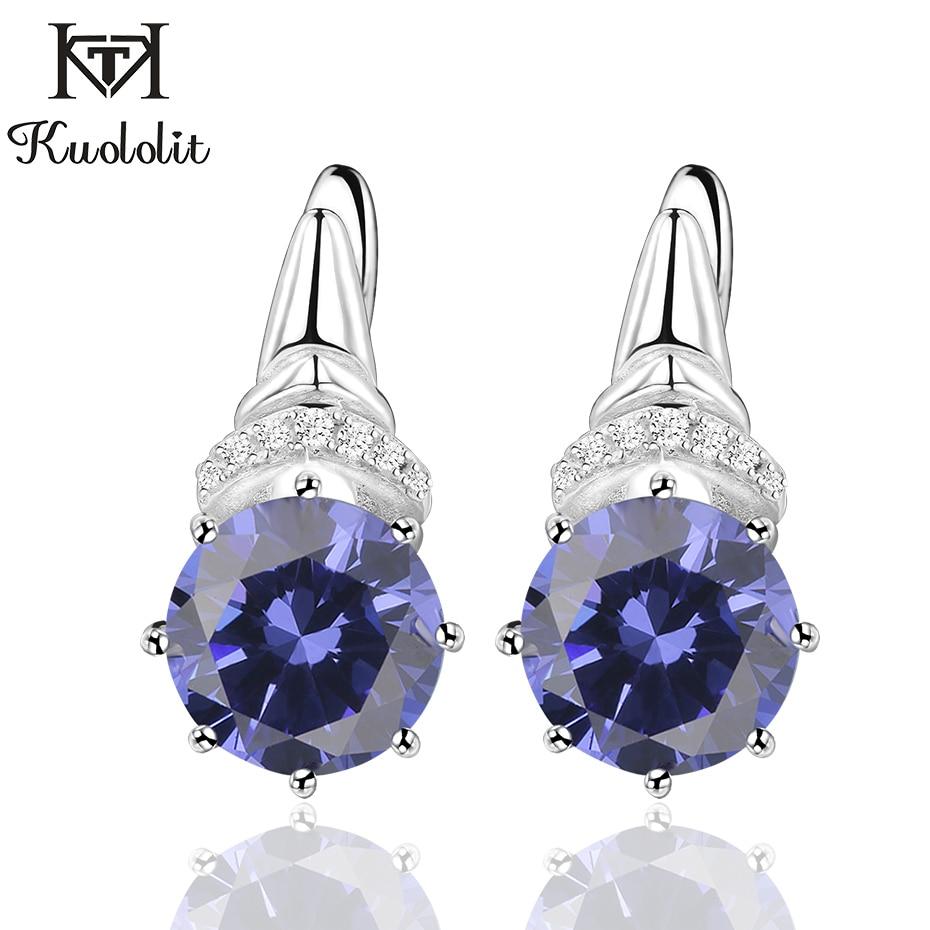 Kuololit Tanzanite Gemstone Clip Earrings For Women  Solid 925 Sterling Silver Engagement Created Gemstone Earrings Fine Jewelry