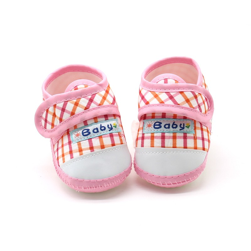 Baby Shoes Cotton Plaid First Walkers Toddler Prewalker Soft Sole Booties Newborn Shoes