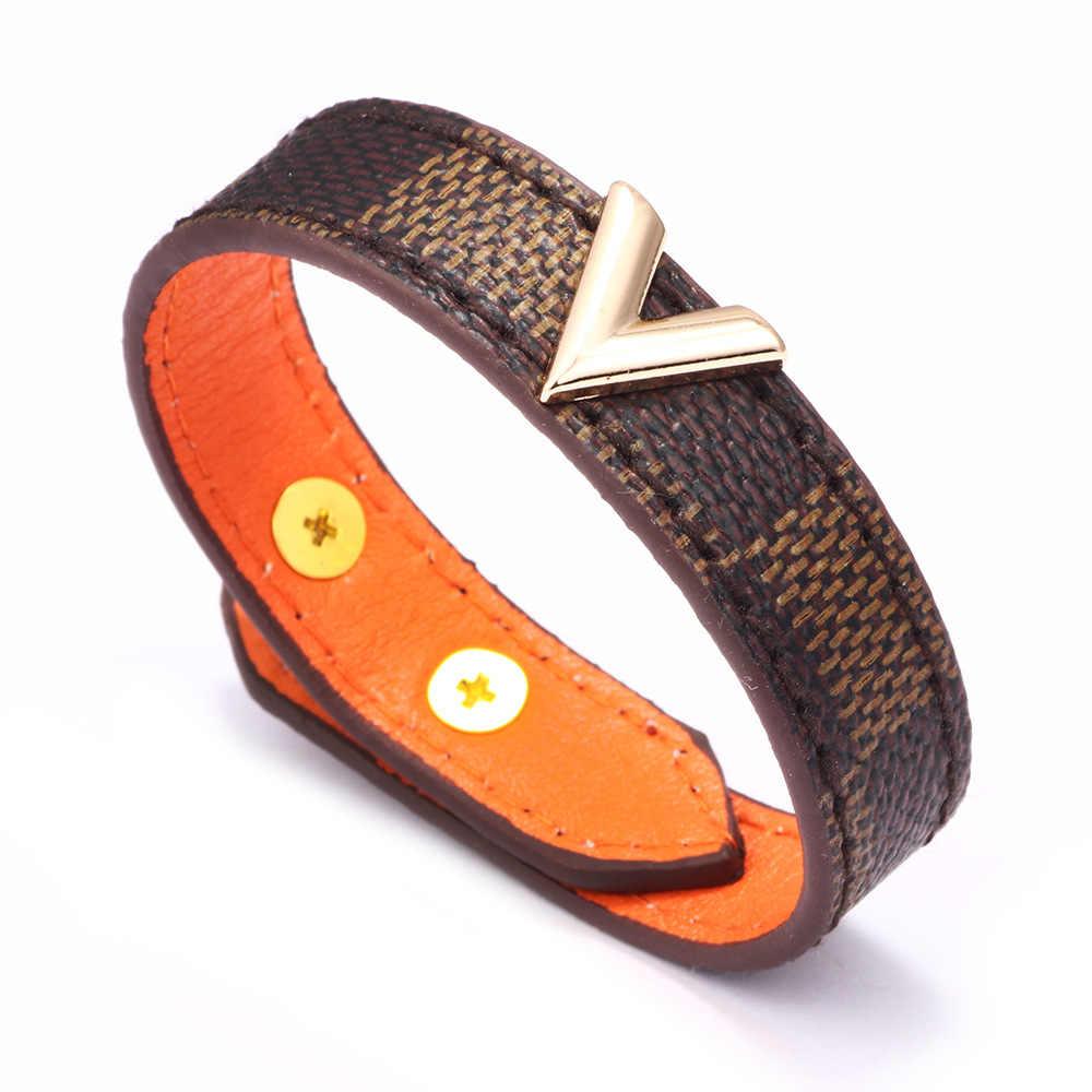 Brązowy wzór szachownicy skórzane bransoletki złota w kształcie litery V metalu dekoracji skórzane ręcznie sieci trakcyjnej moda bransoletka dla kobieta mężczyzna