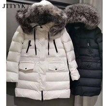 Casual Winter Down Jacket Female 2021 Luxury Brand Natural Fox Fur Collar Women Hooded Winter Coat Medium Length Warm Parkas