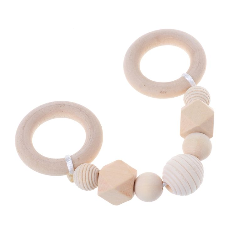 Baby Play Gym Accessorie Chew Wooden Beads DIY Teether Jewelry Nursing Pendants Baby Toys Rattle Teether