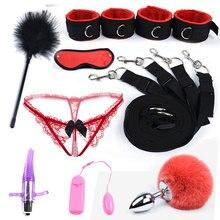 БДСМ Набор для бондажа на кровать секс игрушки для женщин и мужчин эротическая ограничительная наручники, манжеты и маска для глаз металлическая Анальная пробка для взрослых