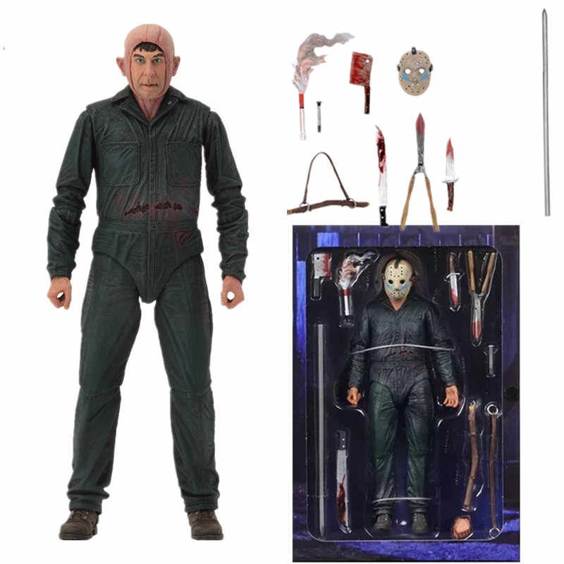 18cm NECA Friday the 13th Jason Parte Final 5 Roy Queimaduras Com LED Action Figure Modelo Toy Boneca Presente