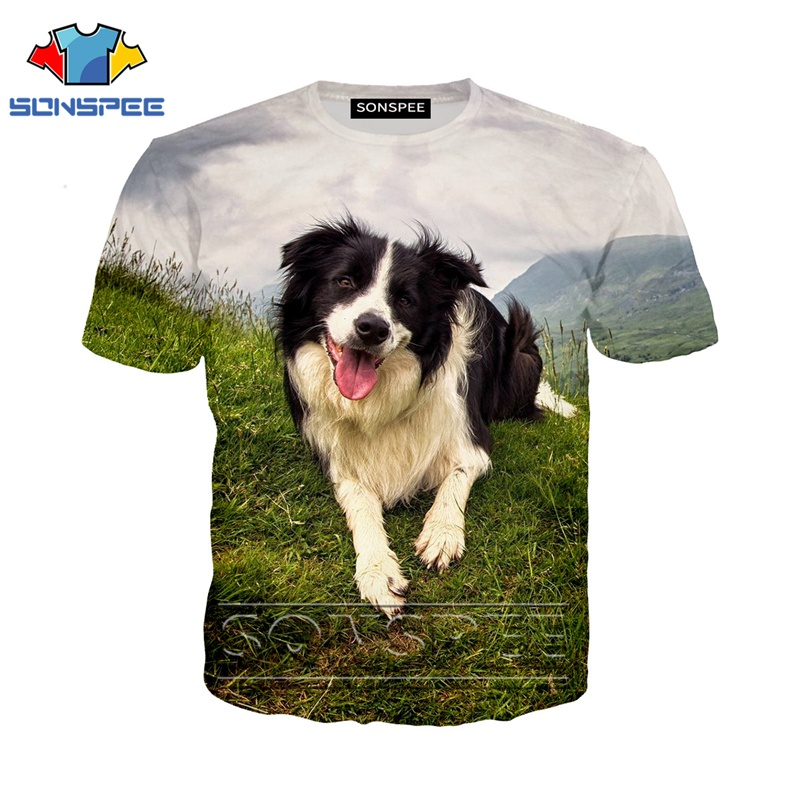 Anime 3d Print Funny T Shirt Men Women Fashion T-shirt Border Collie Dog Top Kids Harajuku Top Tee Funny Shirts Homme Tshirt A38