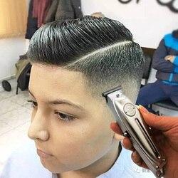 Cortadora de pelo Kemei 1949 profesional, recortadora de pelo sin cable eléctrica de Metal para hombre, máquina de corte de pelo con acabado de cuchilla T de 0mm y pelado