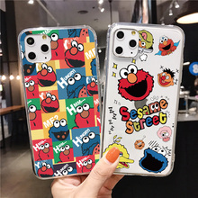 Cute Cartoon Soft Phone Case for iphone XS XR X Coque for iphone 11 12 pro max SE 2 6s 7 8 Plus Sesame Street Cookie Elmo clear