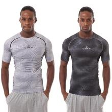 Casual Mens Sports Short Sleeve Shirt Round Neck Snake Pattern Tops Fitness Running Slim T-shirt  Soft and comfortable