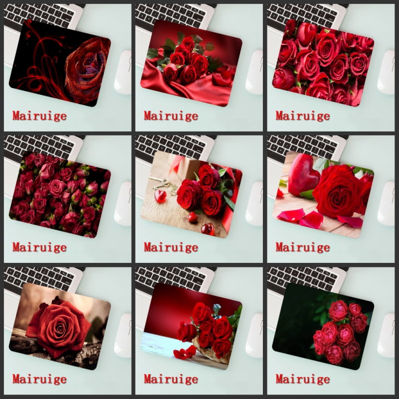 Mairuige Big Promotion Laptop Mouse Pad Romantic Red Rose   Small Size 180 * 220  2mm