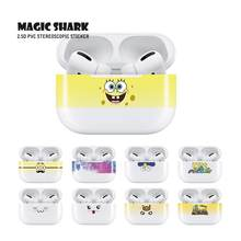 Magic Shark Hd Leuke Kat Simpsons Minions Leopard Hout Print Uv Ultra Dunne Cover Flim Sticker Case Voor Apple Airpods pro Oortelefoon(China)