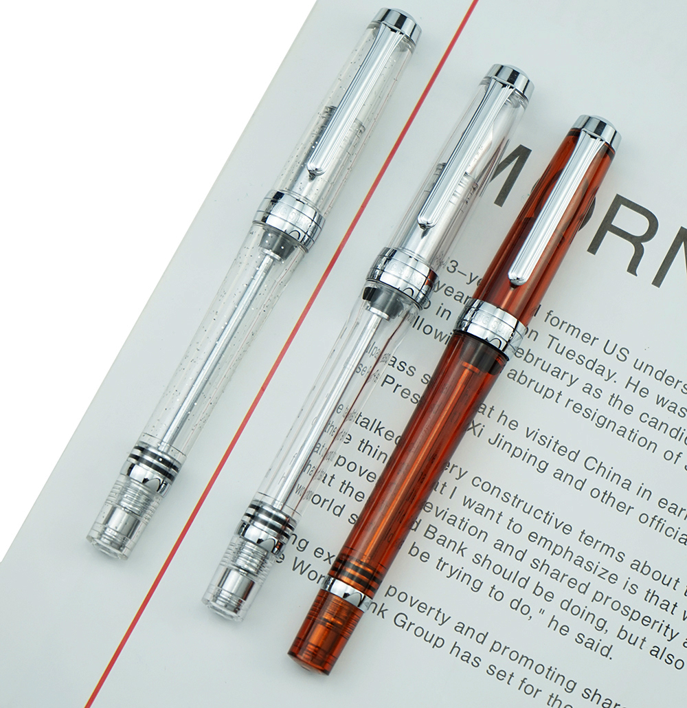 Upgraded 3PCS Wing Sung 3013 Vacuum Fountain Pen Wingsung Resin Transparent Quality EF/F Nib 0.38/0.5mm Ink Gift Pen For Office