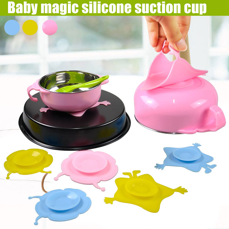 Baby Children Kids Bowl Sucker Suction Silicone Tableware Plate Dishes Double Sided Slip Resistant  FO Sale