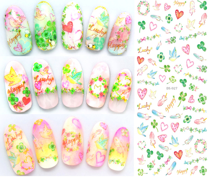 Top Form Brand Manicure Watermarking Adhesive Paper Flower Stickers Nail Sticker Japanese-style Flower Stickers DS27-32