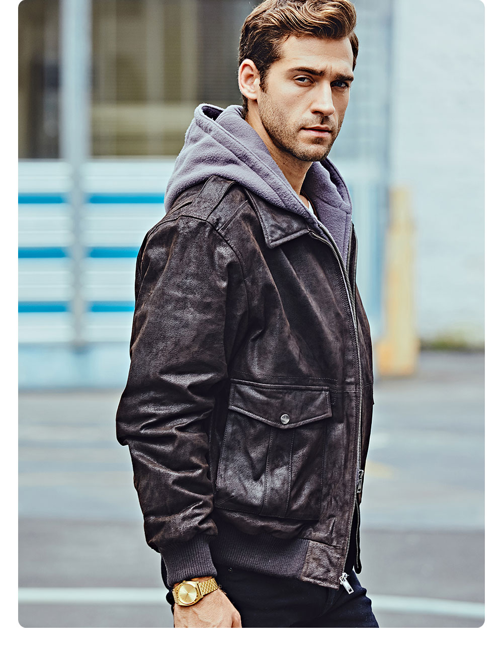 Hb2dcd4866a344793863c304496c04e17h FLAVOR New Men's Genuine Leather Bomber Jackets Removable Hood Men Air Forca Aviator winter coat Men Warm Real Leather Jacket