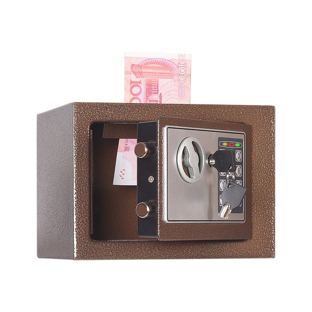 Household 17E Small Safe Mini Wall Safe Deposit Box Bedside Table Password With Lock Insurance Box Gift LESHP