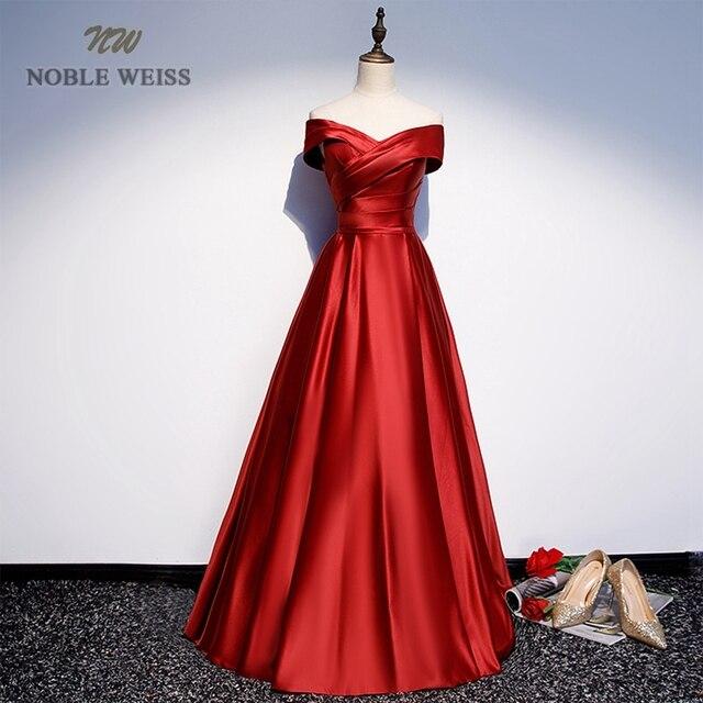 Long Prom Dresses V-Neck Off The Shoulder A-Line Floor-Length Satin Dress Prom Prom Long Elegant Dresses 1