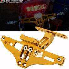 For HYOSUNG GT650R GT 650R 2006 2007-2009 CNC Motorcycle Adjustable Angle License Number Plate Frame Holder Bracket LED Light