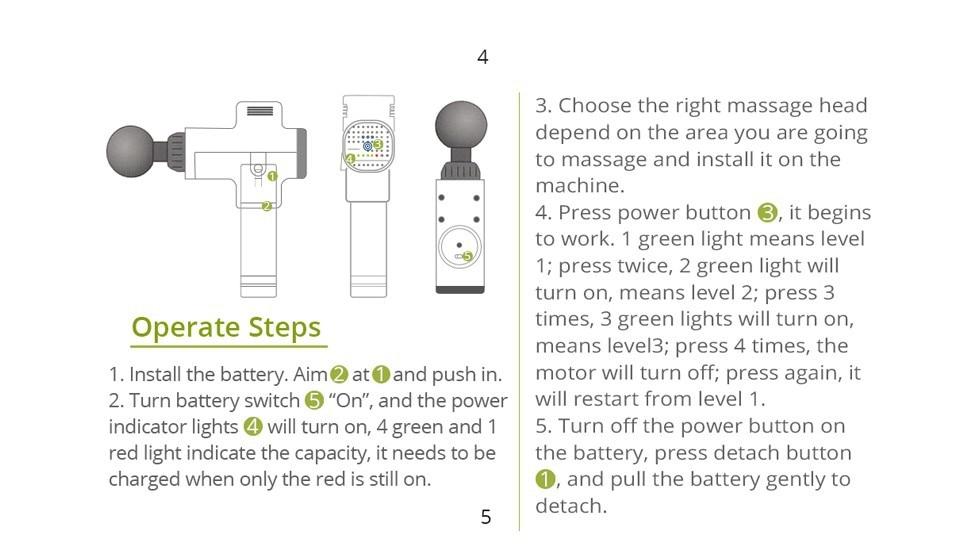 Portable Massage Gun Muscle operation parameters