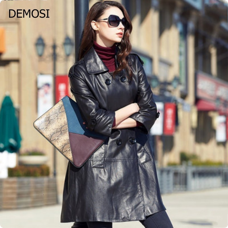 2020 Sheepskin Genuine Leather Womens Jackets New Fashion Double Breasted Long Coats Female Outwear Plus Size Top Quality