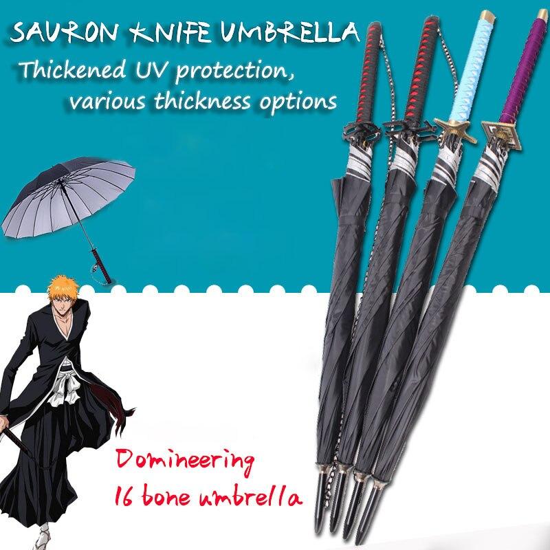 Bleach Espada Katana Automatic Umbrella Rain Women Samurai Sword Ninja Knife Umbrella Windproof Thicken Parasol Mens Gifts