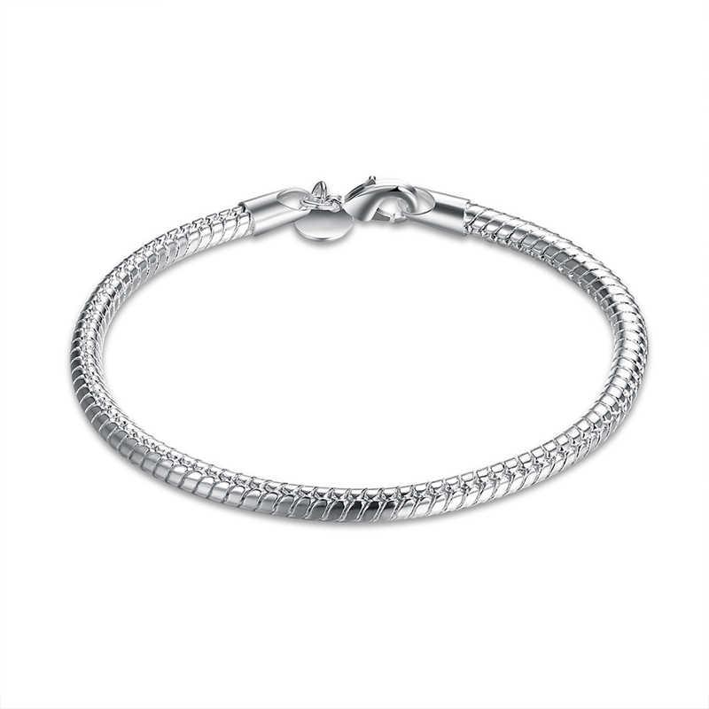 1 sztuk 925 srebrny kolor Lobster łańcuszek wężyk z zapięciem Fit europejskiej Charm bransoletka dla kobiet 925 srebro kolorowa bransoletka darmowa wysyłka