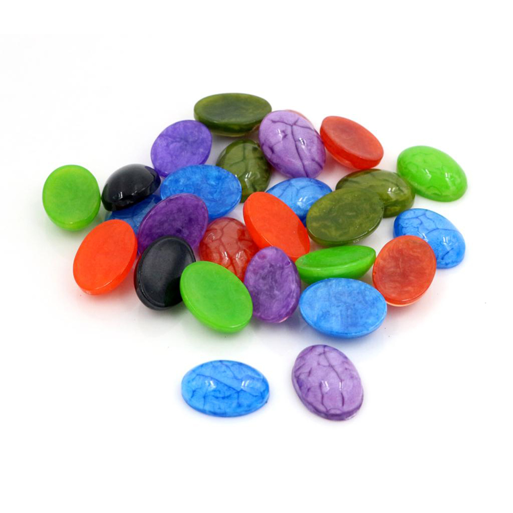 10x14mm 40pcs/Lot Oval Style New Fashion Mix Color Flat Back Resin Cabochons Cameo -V5-27
