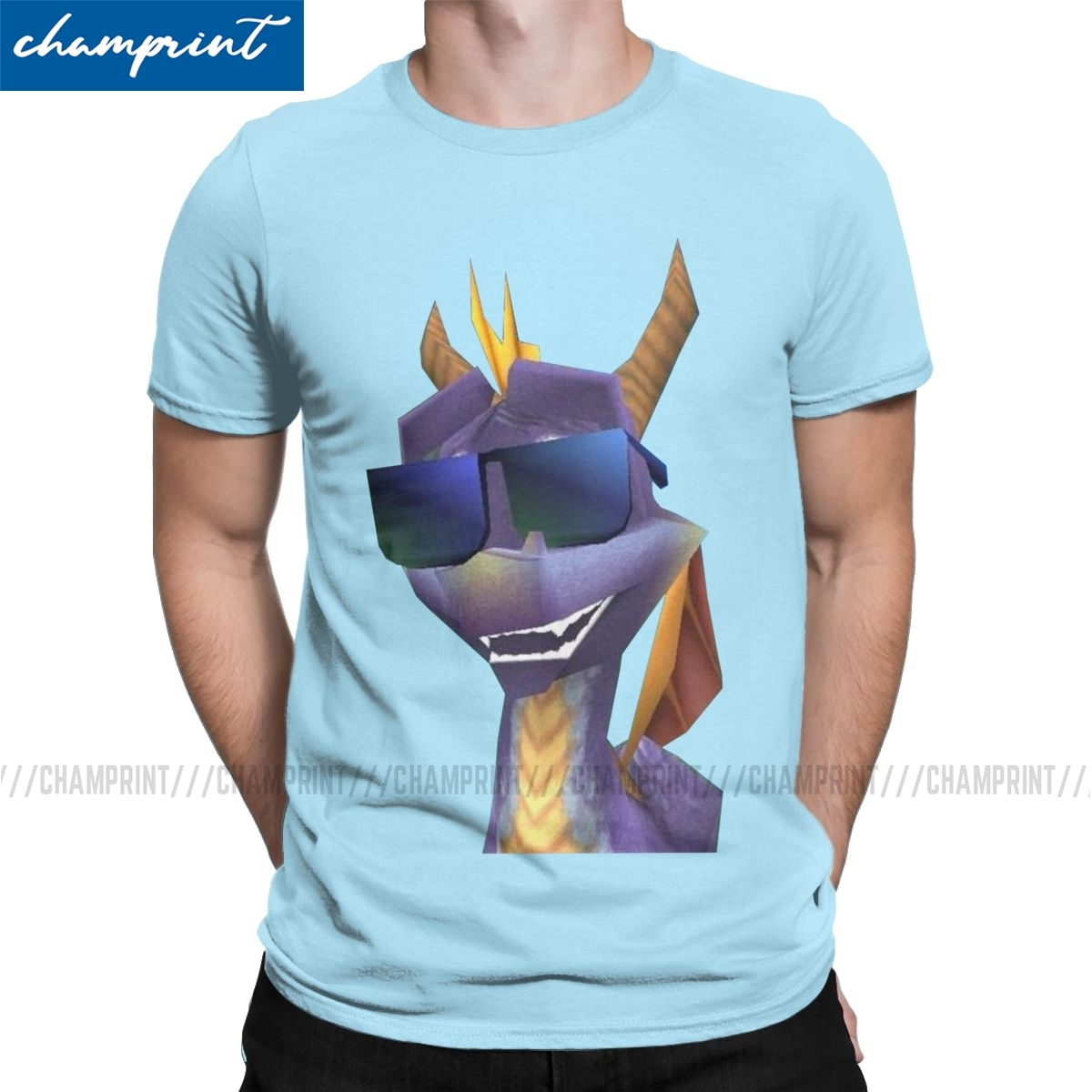 Men Spyro Shades T Shirts Spyro the Dragon Purple Dragon Game Clothes Vintage Short Sleeve Tee Shirt Plus Size T-Shirt image