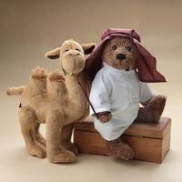 Handmade Arabs Teddy bear Camel Plush Toy Stuffed Animal Doll Desert Bear Full joint movable bear and camel Doll Birthday Gift