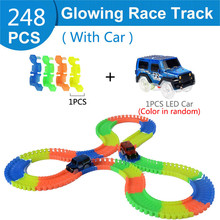Railway Magical Racing Track Play Set Glowing Flexible Car Toys Children Racing Bend Rail Track Led Light Car DIY Toy Kids Gift new magic track flexible rail racing car model railway road magical truck pull back tracks cars set diy toys for children gifts