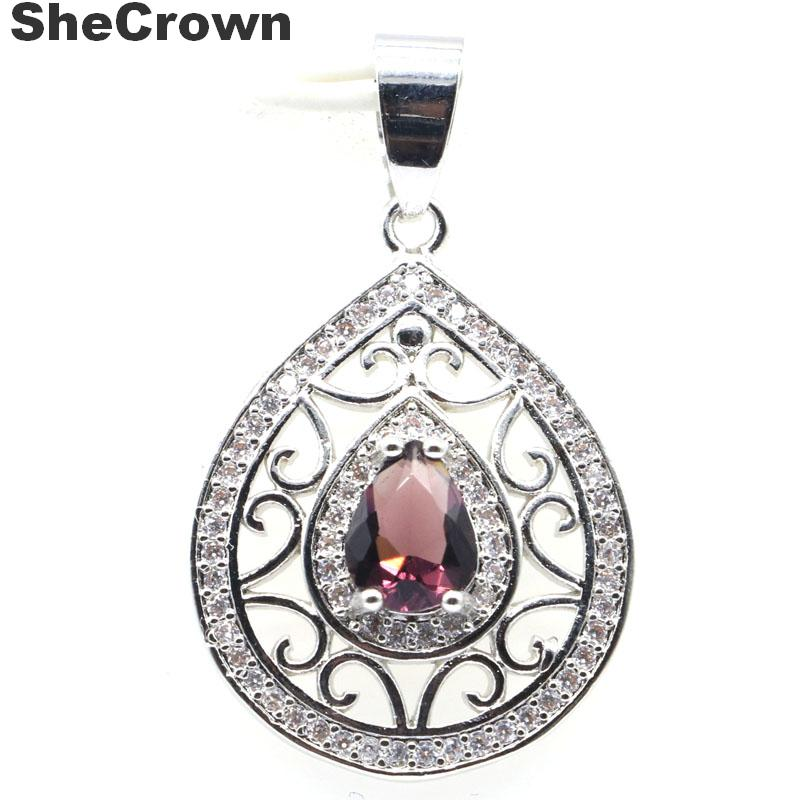 31x21mm Pretty Created Purple Amethyst Natural CZ Gift Silver Pendant